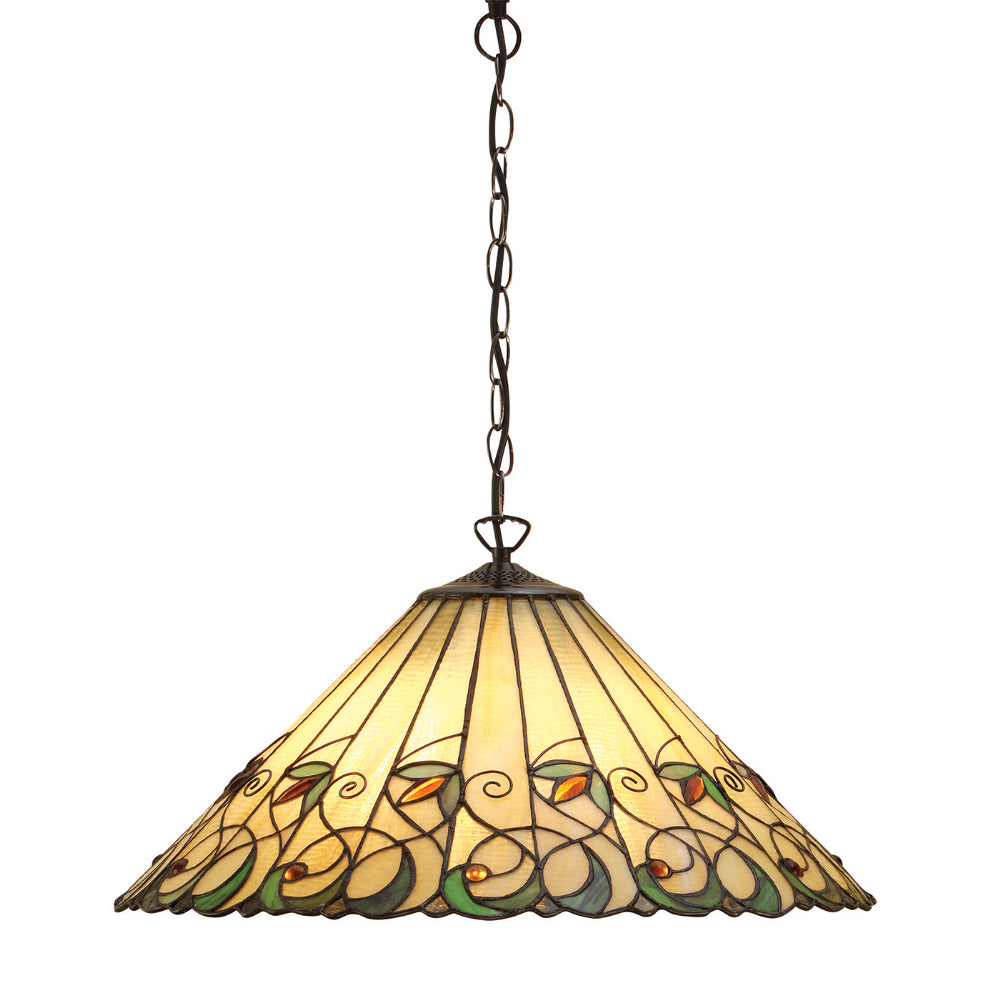 Jamelia Large 3 Light Tiffany Pendant Ceiling Light
