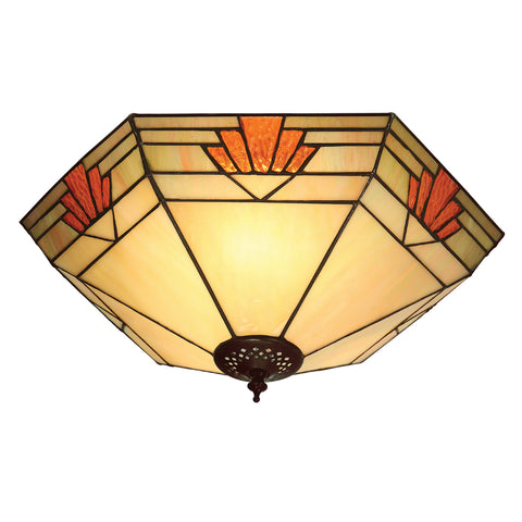 Nevada Large 2 Light Tiffany Flush Ceiling Light