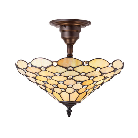 Pearl Medium 3 Light Tiffany Semi-Flush Ceiling Light