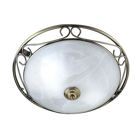 Searchlight 6436 2 Light Flush Ceiling Light Antique Brass Finish