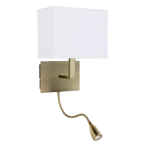 Searchlight 6519AB Antique Brass Wall Light With White Shade And LED Reading Light