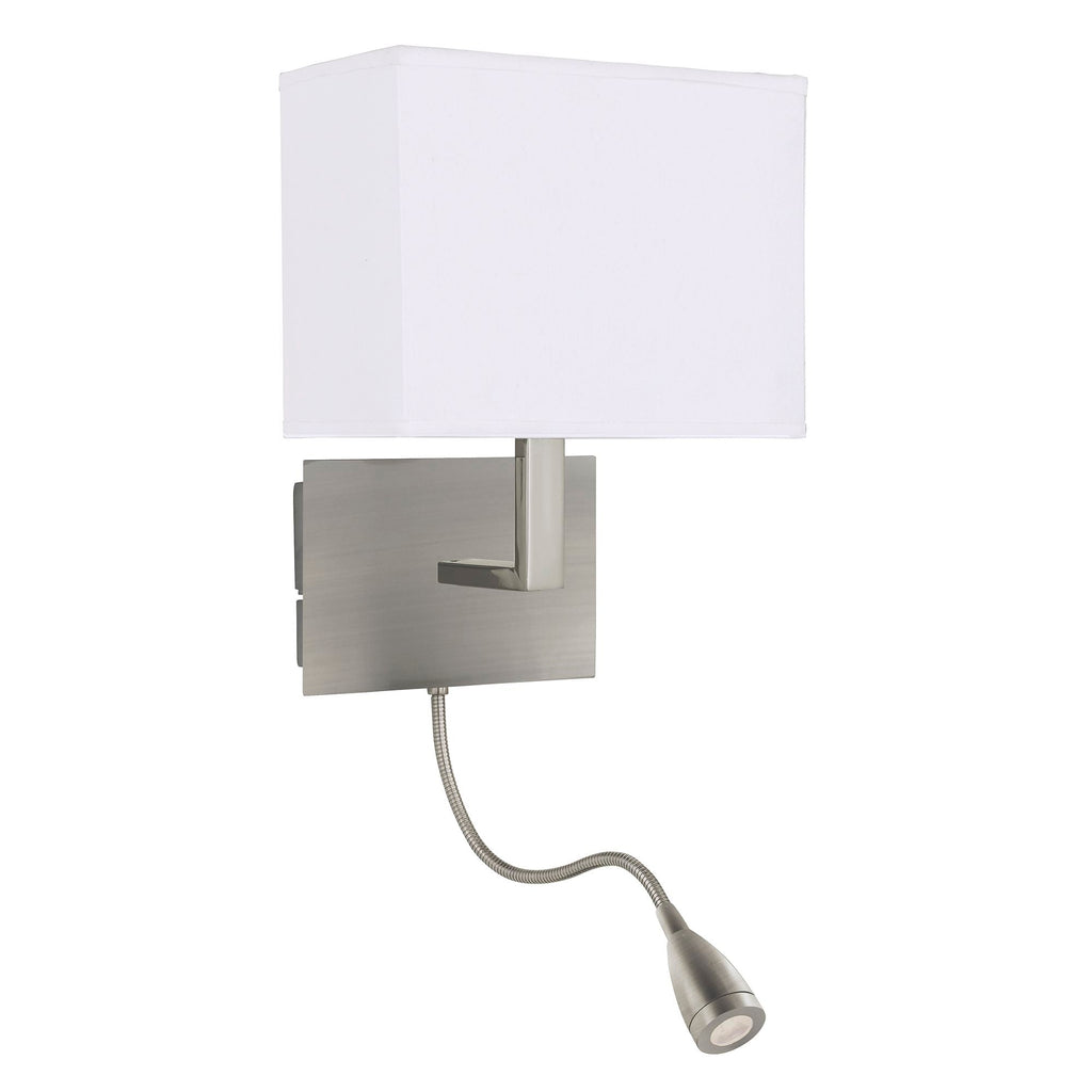 Searchlight 6519SS Satin Silver Wall Light With White Shade And LED Reading Light