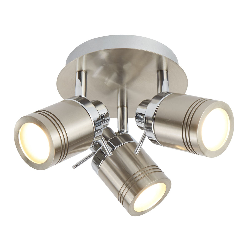 Searchlight 6603SS Samson 3 Light Chrome And Satin Silver Spotlight