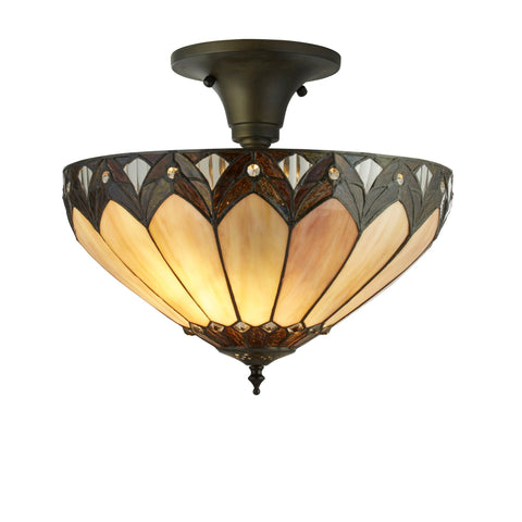 Searchlight 6701-40 Pearl 3 Light Tiffany Semi-Flush Ceiling Light