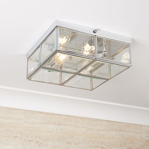 Searchlight 6769-26CC 2 Light Flush Ceiling Light Chrome Finish