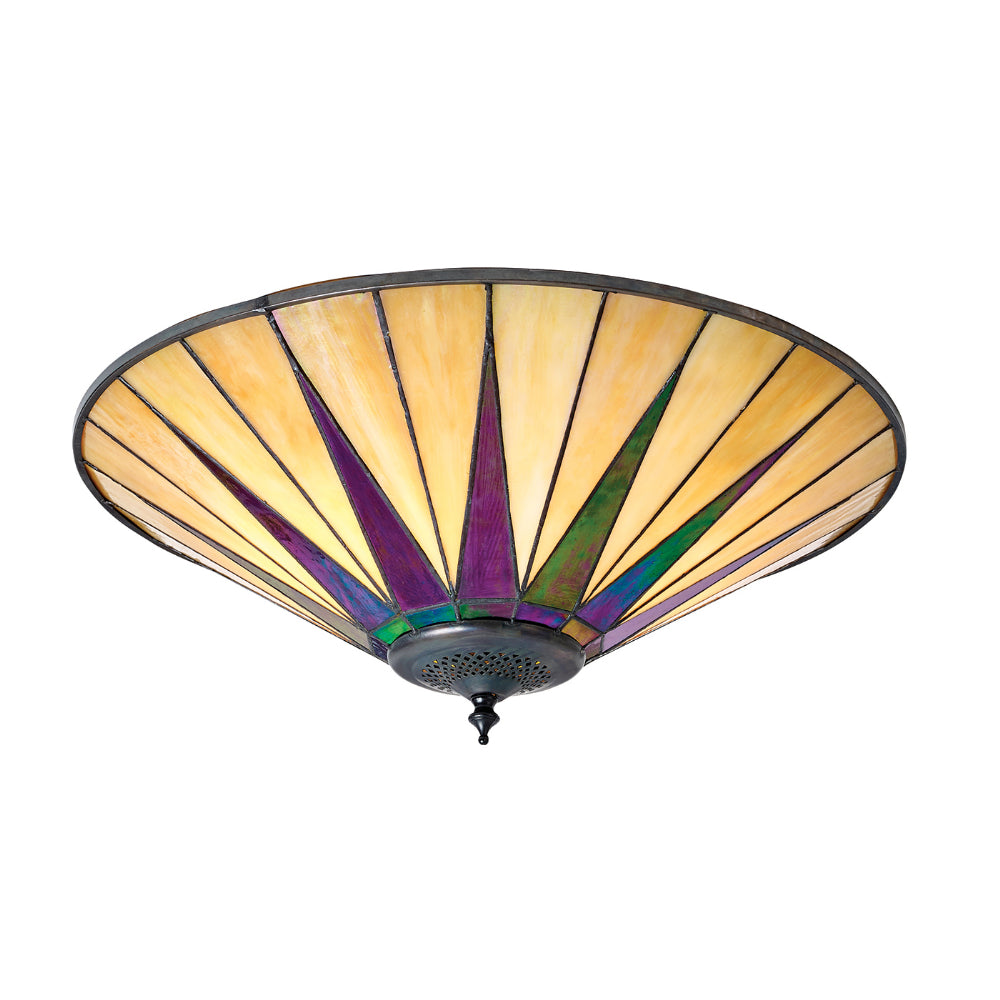 Dark Star Large 2 Light Tiffany Flush Ceiling Light
