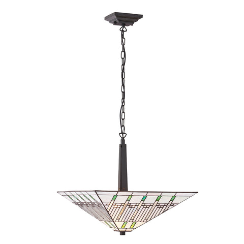 Mission Large Inverted 2 Light Tiffany Pendant Ceiling Light