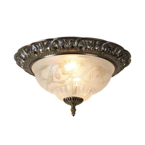 Searchlight 7045-13 2 Light Flush Ceiling Light Antique Brass Finish