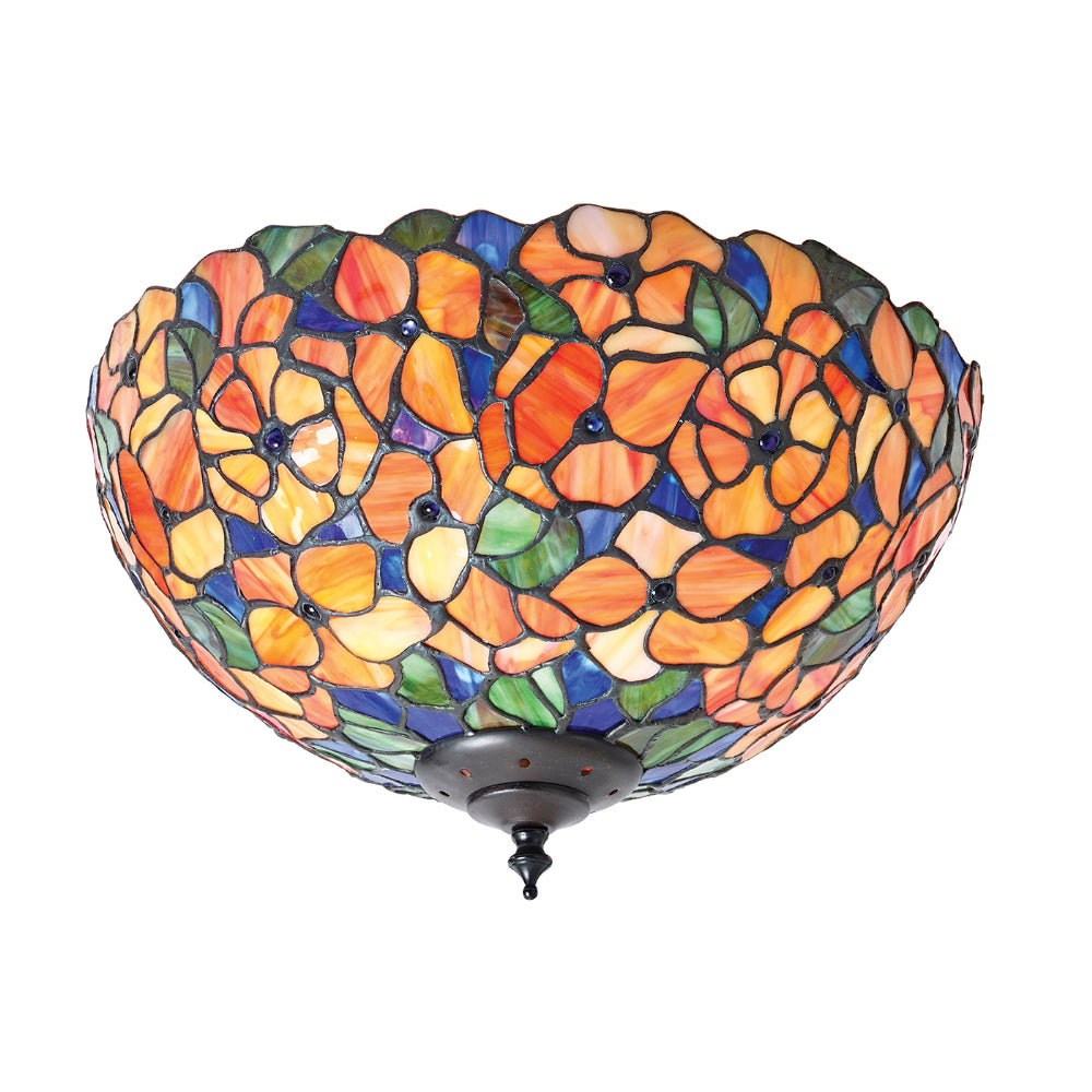 Josette Medium 2 Light Tiffany Flush Ceiling Light