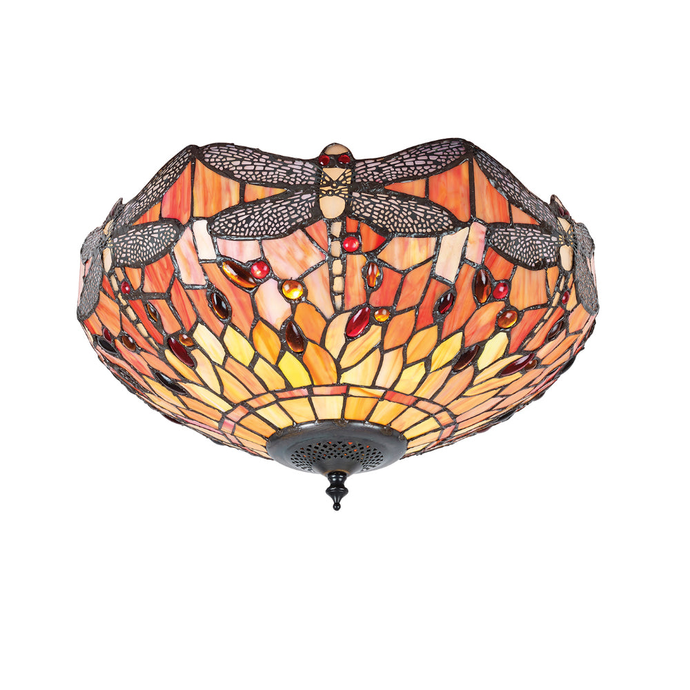 Dragonfly Flame Medium 2 Light Tiffany Flush Ceiling Light