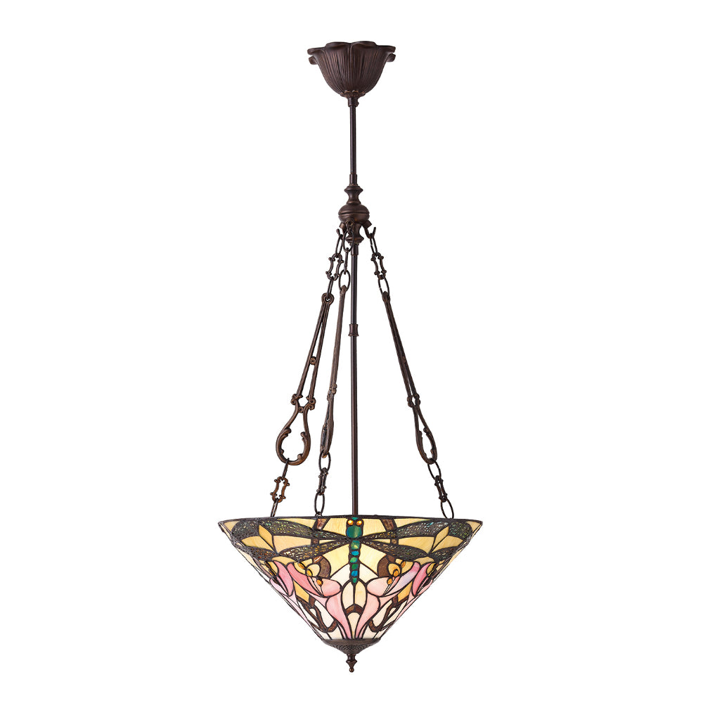Ashton Medium Inverted 3 Light Tiffany Pendant Ceiling Light