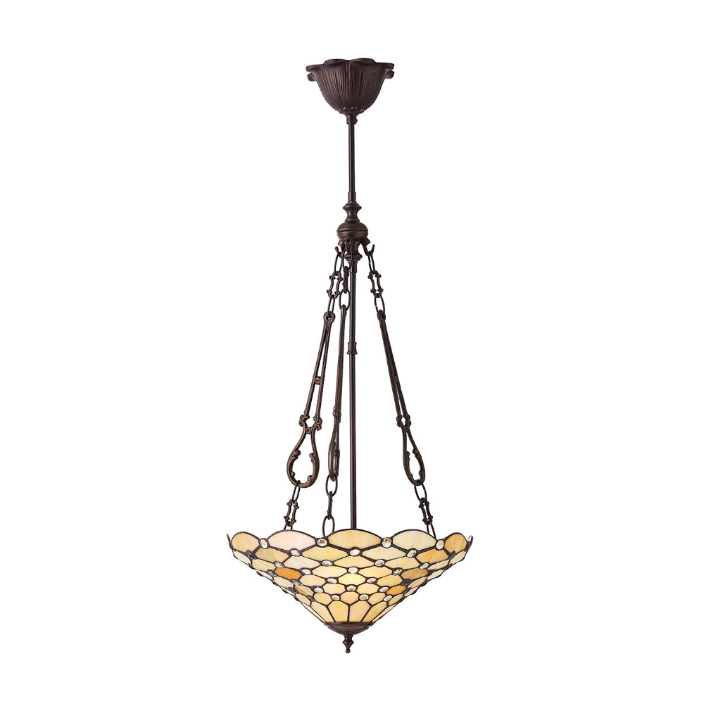 Pearl Medium Inverted 3 Light Tiffany Pendant Ceiling Light