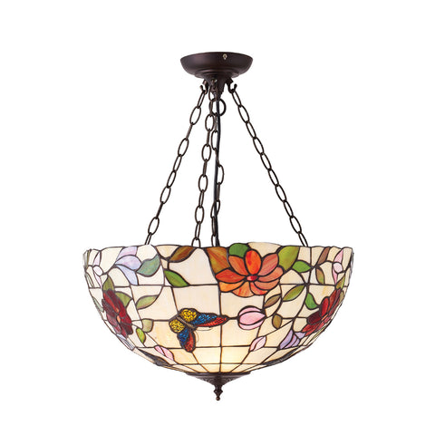 Butterfly Large Inverted 3 Light Tiffany Pendant Ceiling Light