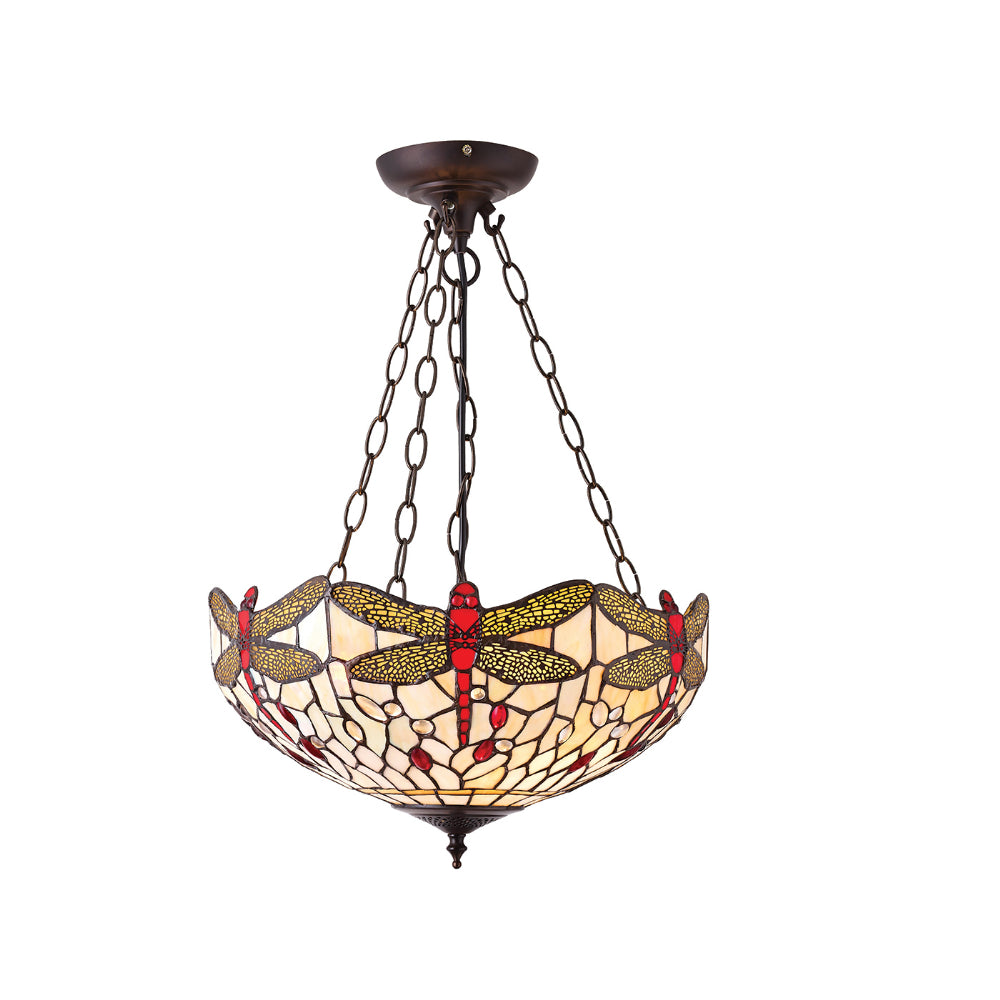 Dragonfly Beige Medium Inverted 3 Light Tiffany Pendant Ceiling Light
