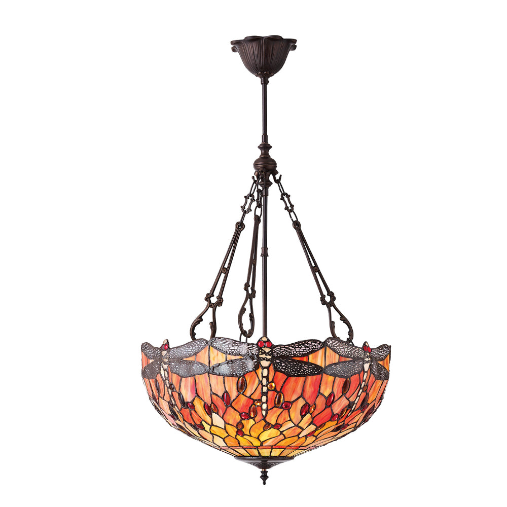 Dragonfly Flame Large Inverted 3 Light Tiffany Pendant Ceiling Light