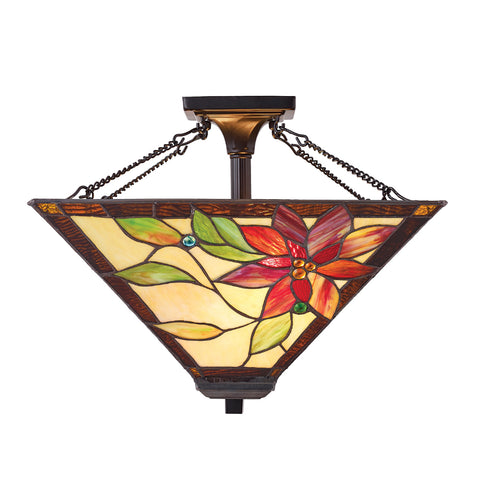 Lelani Medium 2 Light Tiffany Semi-Flush Ceiling Light