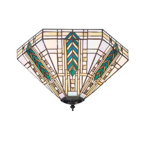 Lloyd Medium 2 Light Tiffany Flush Ceiling Light