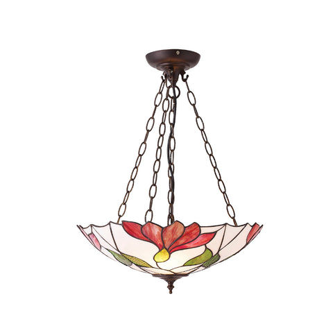 Botanica Inverted 3 Light Tiffany Pendant Ceiling Light