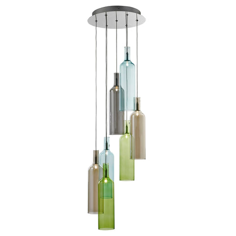 Searchlight 7257-7 Bottle 7 Light Pendant Ceiling Light Multi Coloured Finish