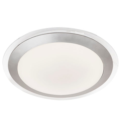 Searchlight 7684-33SI Silver LED Flush Light With White Acrylic Shade