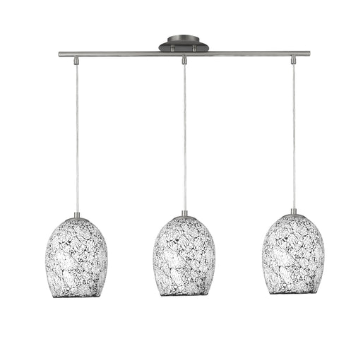 Searchlight 8069-3WH Crackle 3 Light Pendant Ceiling Light Satin Silver Finish