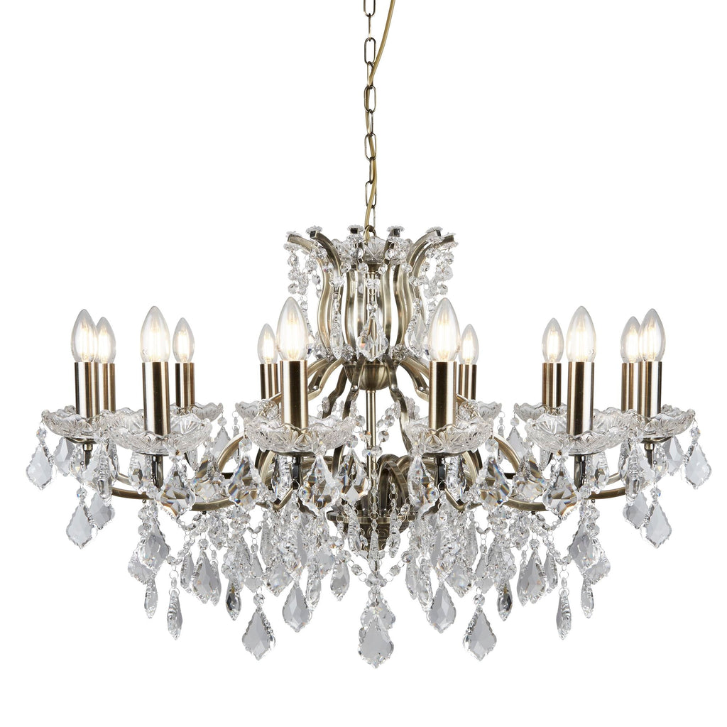 Searchlight 87312-12AB Paris 12 Light Crystal Chandelier Antique Brass Finish