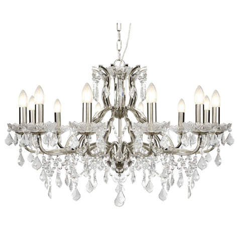 Searchlight 87312-12SS Paris 12 Light Crystal Chandelier Satin Silver Finish