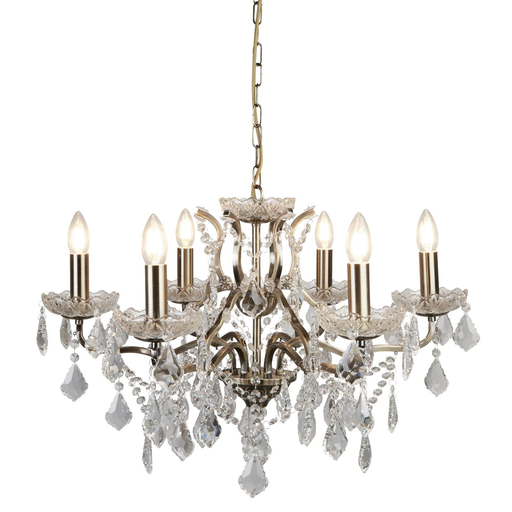 Searchlight 8736-6AB Paris 6 Light Crystal Chandelier Antique Brass Finish