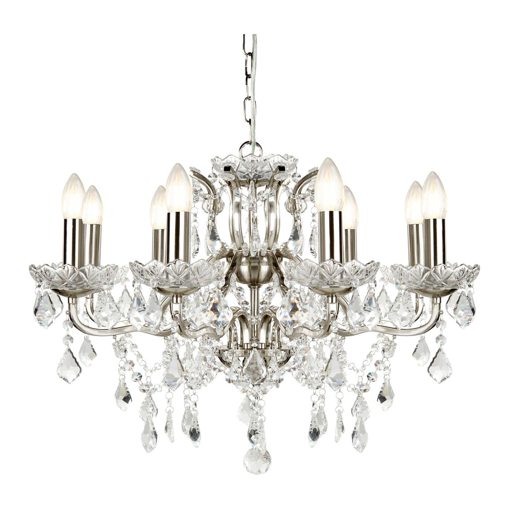 Searchlight 8738-8SS Paris 8 Light Crystal Chandelier Satin Silver Finish