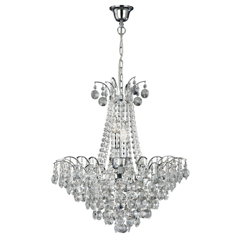 Searchlight 9071-52CC Limoges 6 Light Chrome Chandelier Trimmed With Crystal