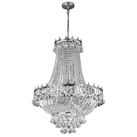 Searchlight 9112-52CC Versailles 9 Light Polished Chrome Chandelier Trimmed With Crystal