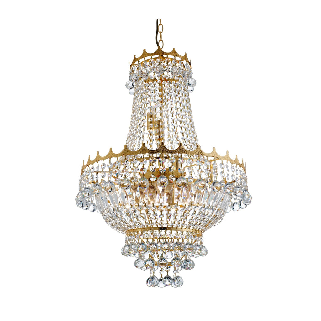 Searchlight 9112-52GO Versailles 9 Light Gold Chandelier Trimmed With Crystal