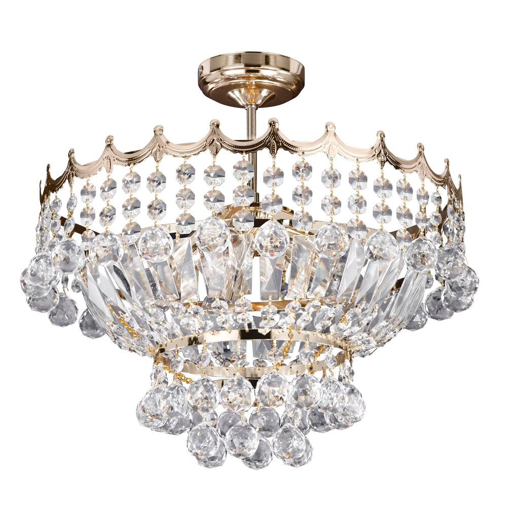 Searchlight 9113-39GO Versailles 5 Light Gold Semi-Flush Crystal Chandelier