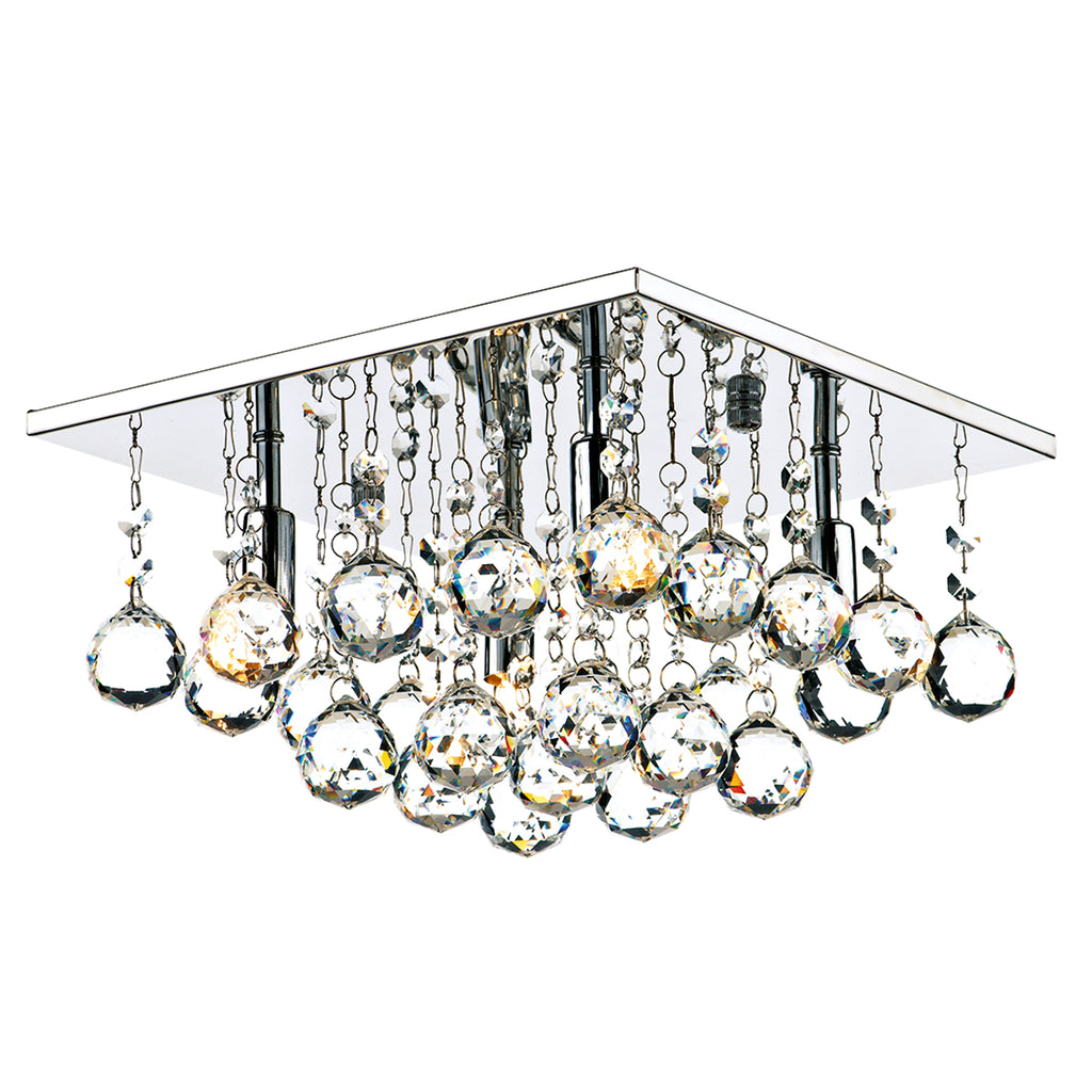 där Lighting ABA5250 Abacus 4 Light Polished Chrome Flush Ceiling Light