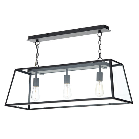 där Lighting ACA0322 Academy 3 Light Black Pendant Ceiling Light