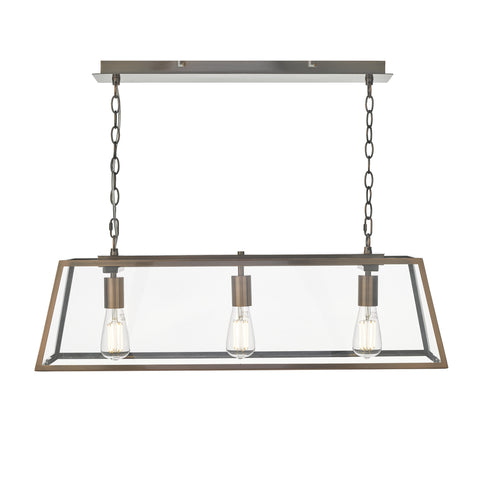där Lighting ACA0364 Academy 3 Light Antique Copper Linear Pendant Ceiling Light