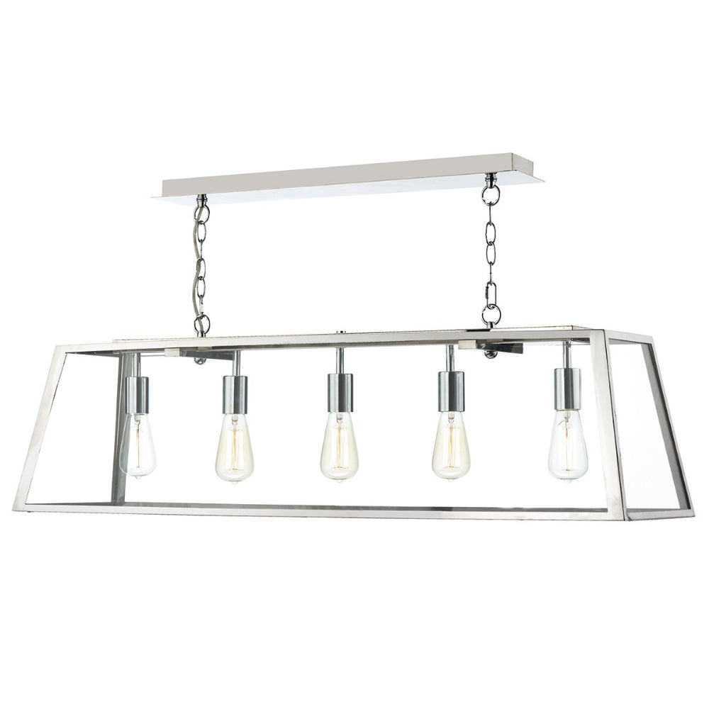 där Lighting ACA0544 Academy 5 Light Stainless Steel Pendant Ceiling Light