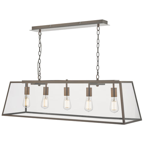 där Lighting ACA0564 Academy 5 Light Antique Copper Linear Pendant Ceiling Light