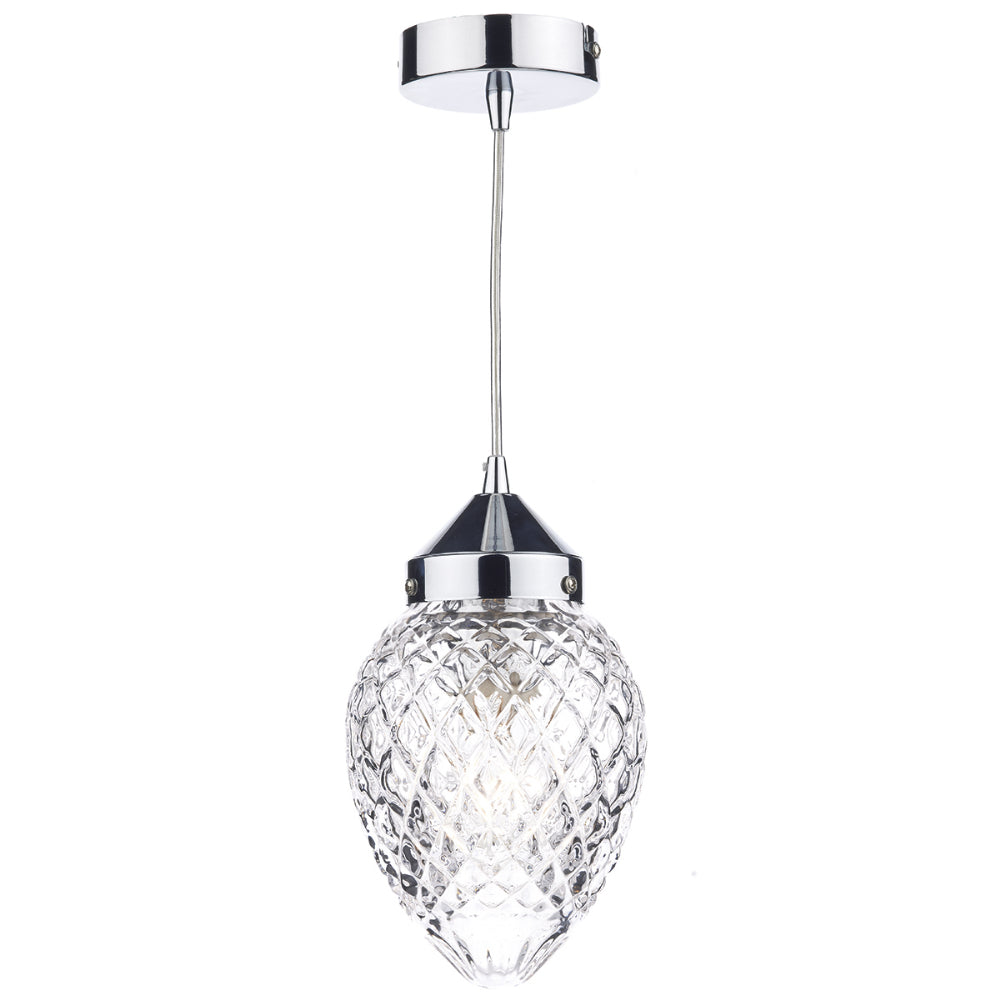 där Lighting AGA0150 Agatha Single Light Polished Chrome Pendant Ceiling Light