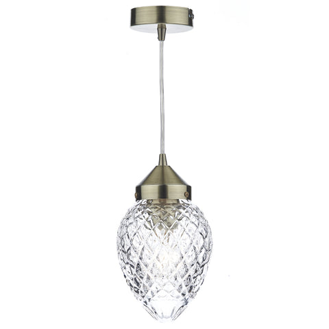där Lighting AGA0175 Agatha Single Light Antique Brass Pendant Ceiling Light