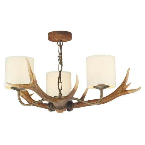 David Hunt ANT0329 Antler 3 Light Highland Rustic Pendant Ceiling Light