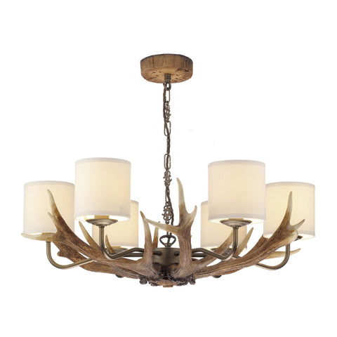 David Hunt ANT0629 Antler 6 Light Highland Rustic Pendant Ceiling Light