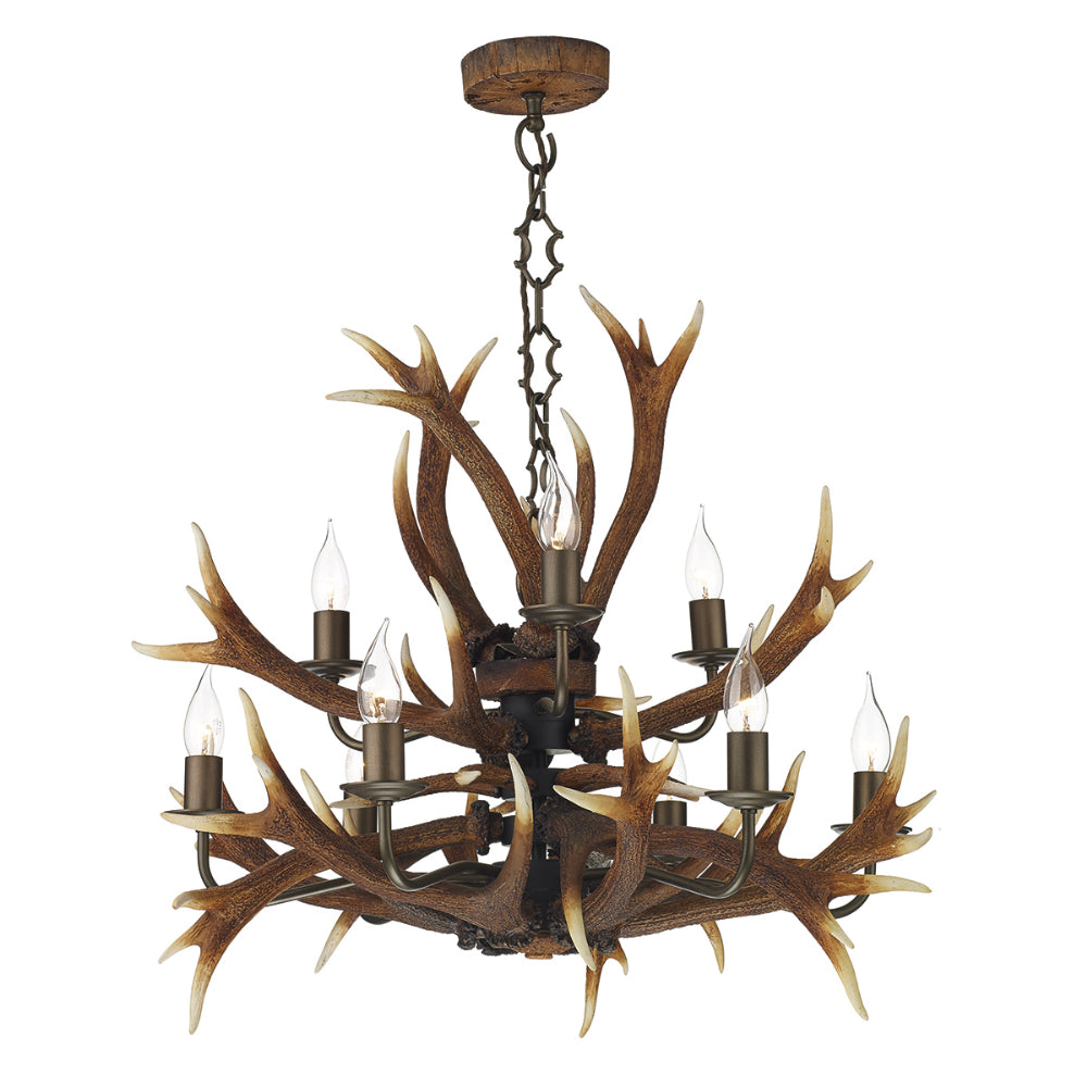 David Hunt ANT1329 Antler 9 Light Highland Rustic Pendant Ceiling Light