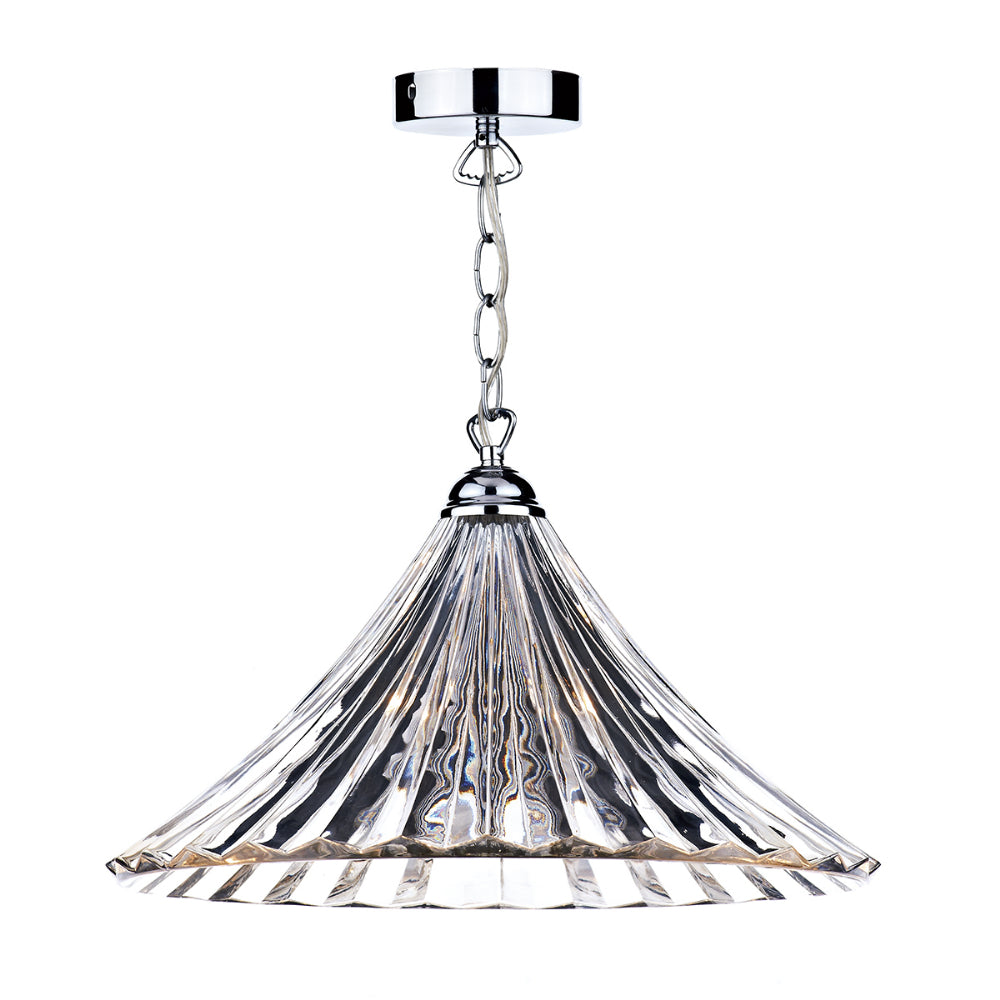 där Lighting ARD868 Ardeche Single Light Polished Chrome Pendant Ceiling Light