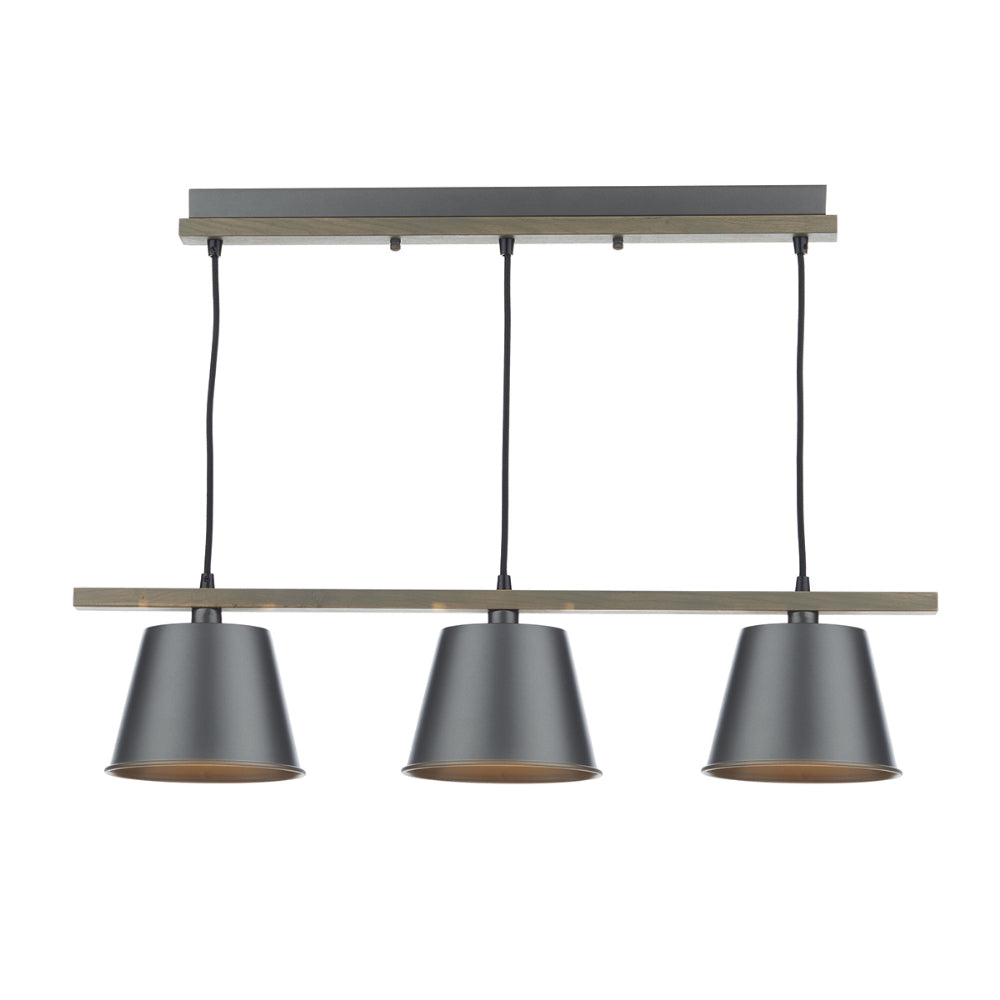 där Lighting ARK0348 Arken 3 Light Grey Pendant Ceiling Light