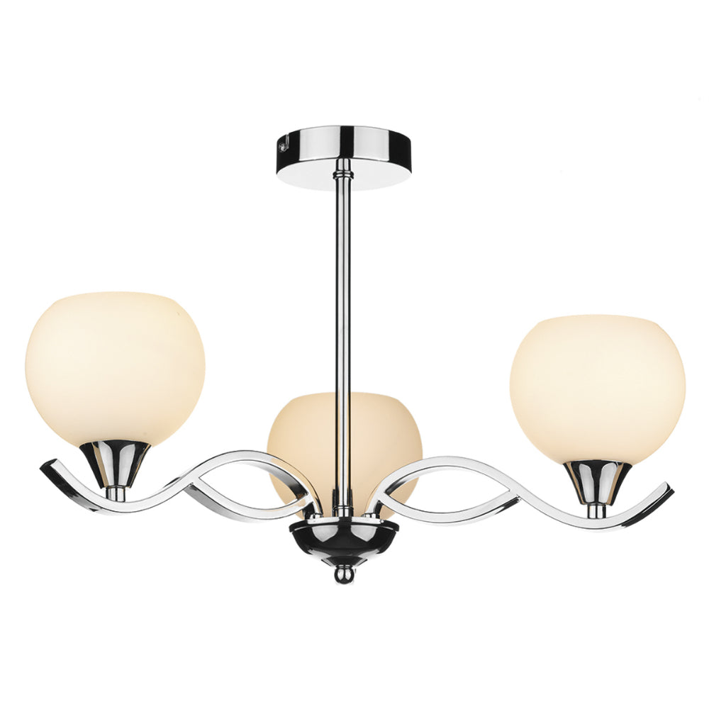 där Lighting ARU0350 Aruba 3 Light Polished Chrome Semi-Flush Ceiling Light