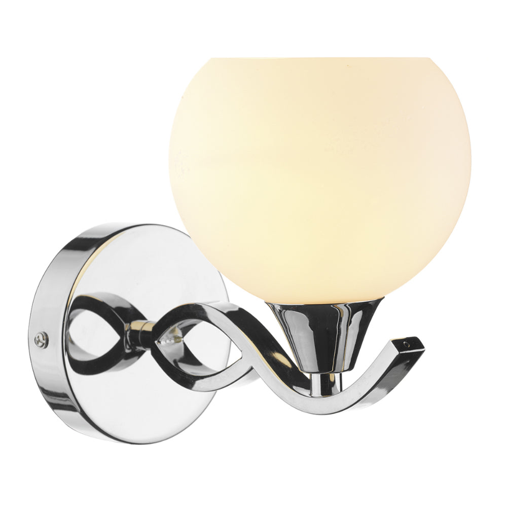 där Lighting ARU0750 Aruba Single Light Polished Chrome Switched Wall Light