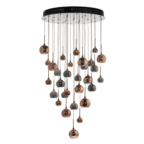 där Lighting AUR3364 Aurelia 30 Light Black Chrome LED Pendant Ceiling Light 3m Drop
