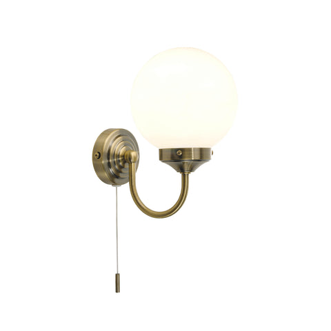 där Lighting BAR0775 Barclay Single Light Antique Brass Switched Wall Light