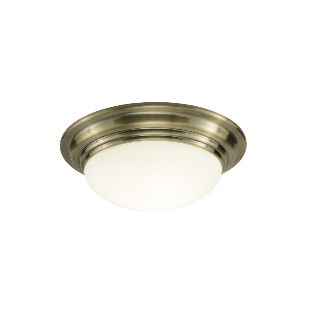 där Lighting BAR5275 Barclay Single Light Antique Brass Small Flush Ceiling Light